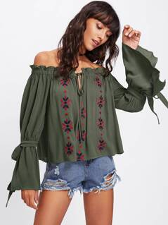 Bow Tied Bell Sleeve Frilled Bardot Blouse