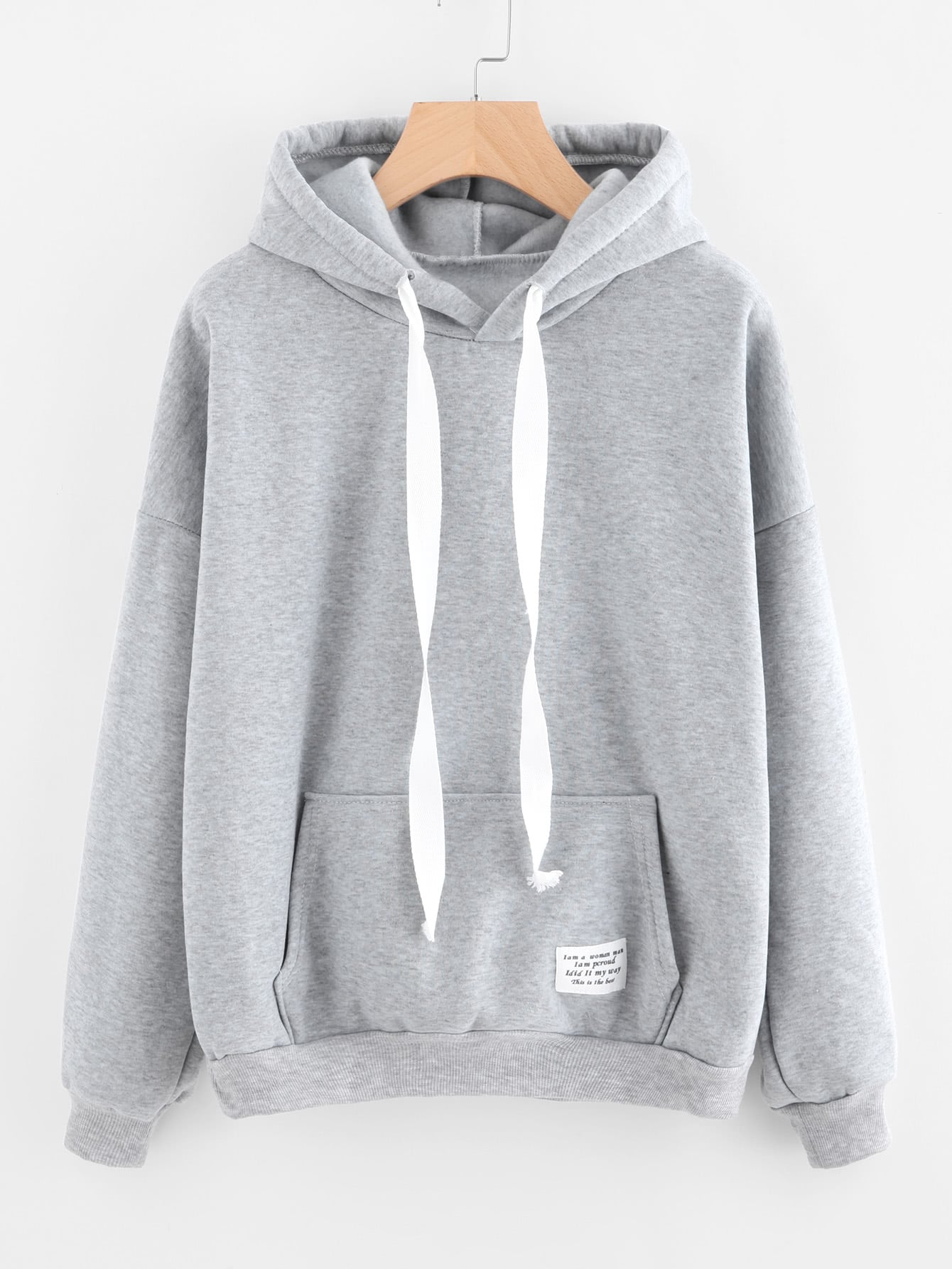 Drop Shoulder Kangaroo Pocket Patch Detail Hoodie