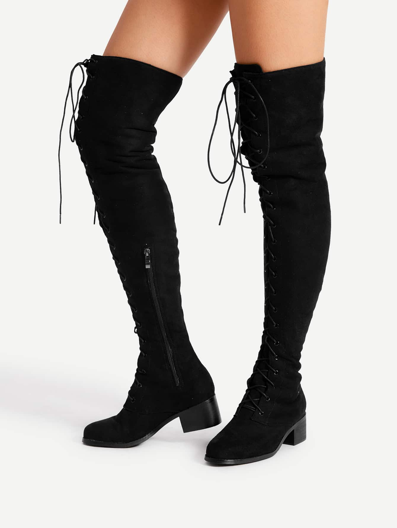 lace up front block heeled thigh high boots shein sheinside