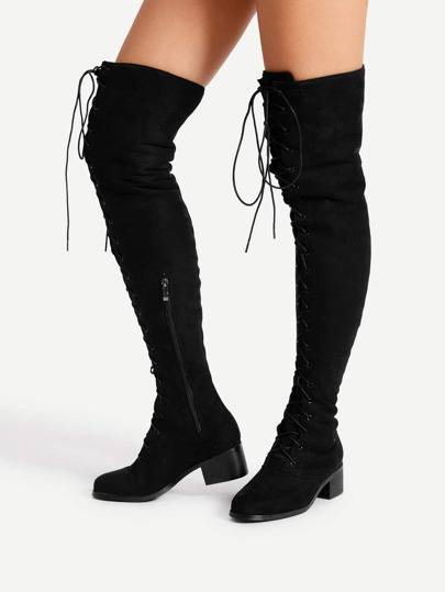 Lace Up Front Block Heeled Thigh High Boots