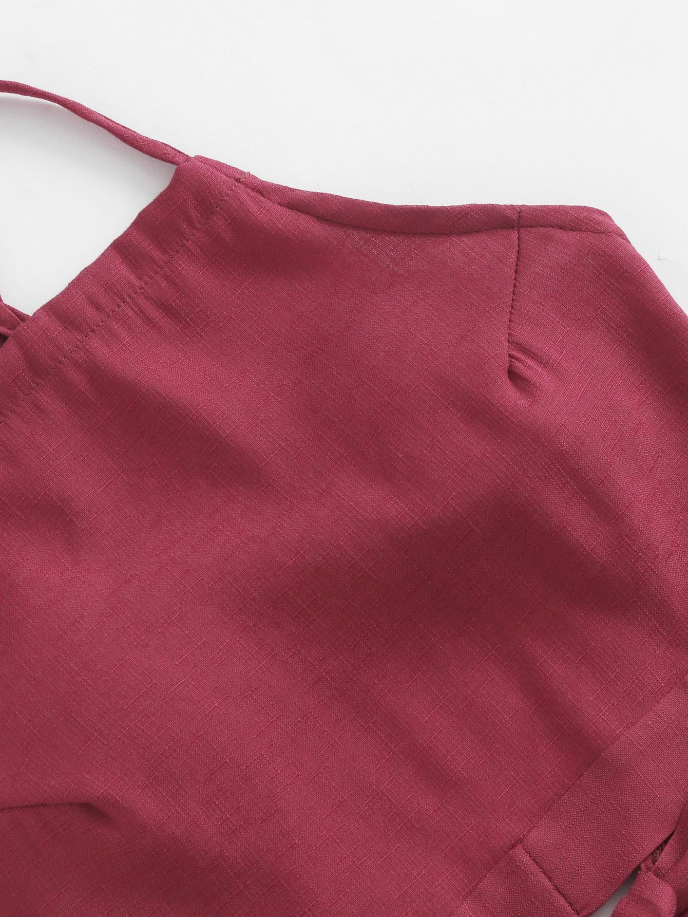 SHEIN / Conjunto de top corto anudado y shorts