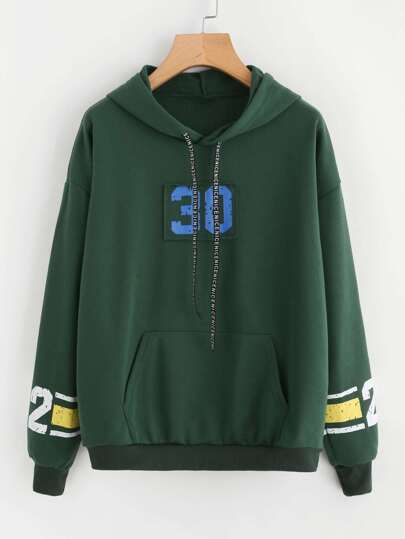 Number Print Patch Detail Kangaroo Pocket Hoodie