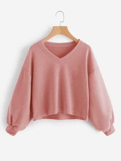 V Neckline Drop Shoulder Lantern Sleeve Sweatshirt