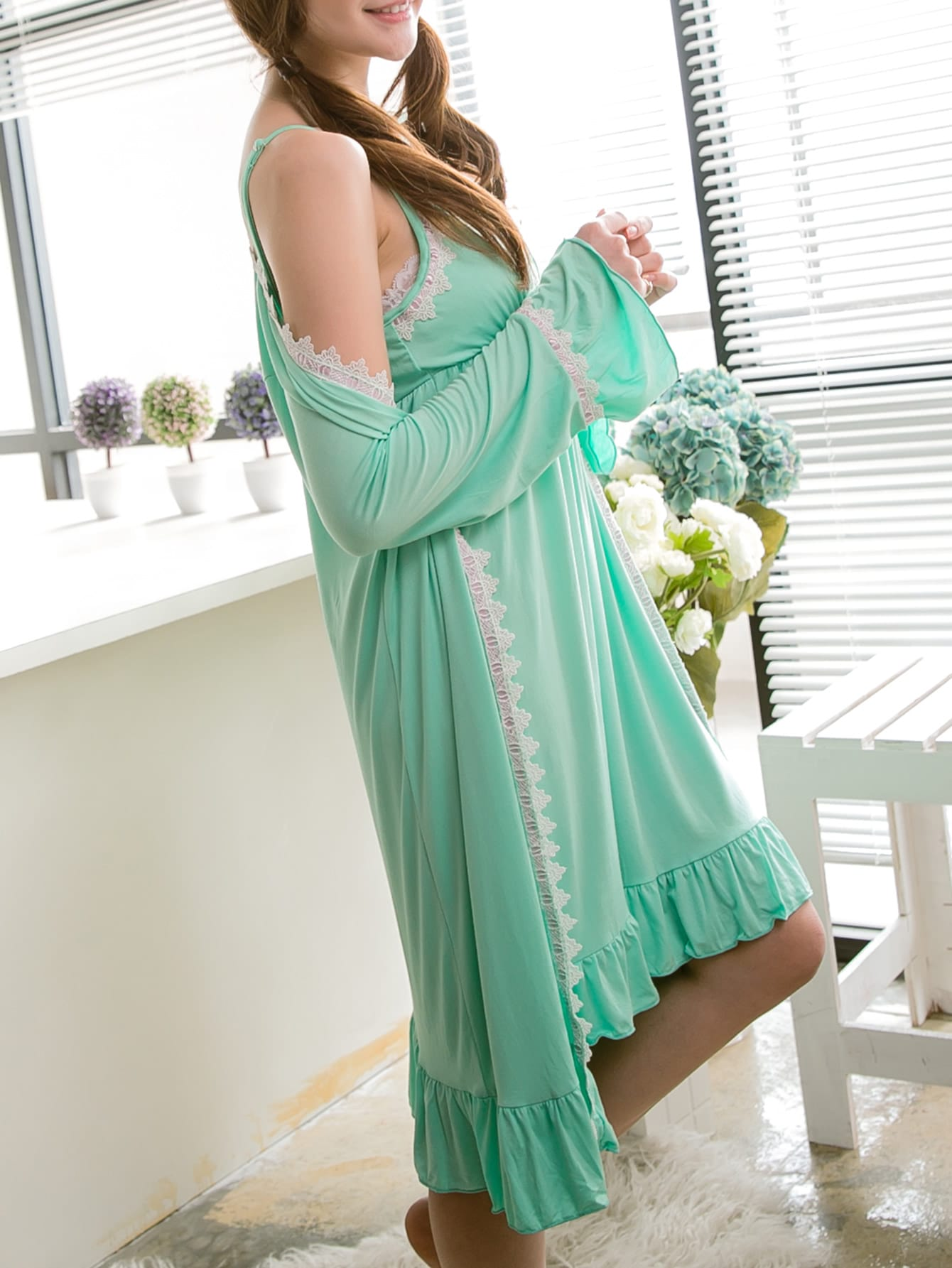Contrast Lace Frill Trim Cami Dress With Robe tiered frill trim lace up cami top