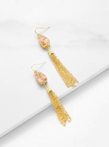 Two Tone Chain Tassel Drop Earrings
