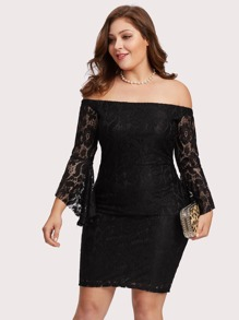Off Shoulder Bell Sleeve Lace Overlay Dress