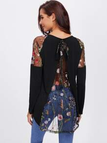 Lace Shoulder Bow Overlap Back Tee