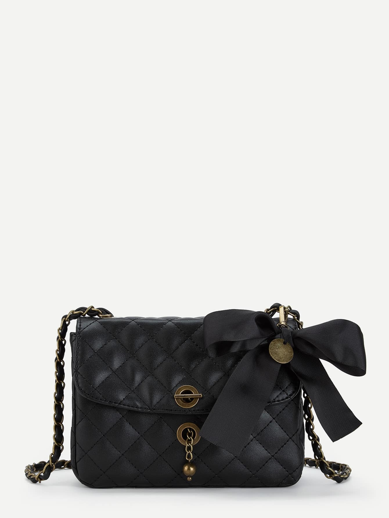 Buy Bow Decorated Quilted PU Chain Crossbody Bag
