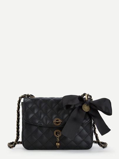 Bow Decorated Quilted PU Chain Crossbody Bag