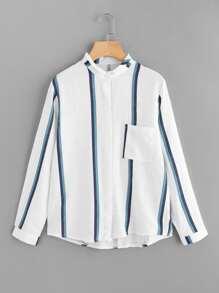 Single Pocket Striped Shirt