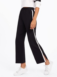 Contrast Tape Side Slit Pants