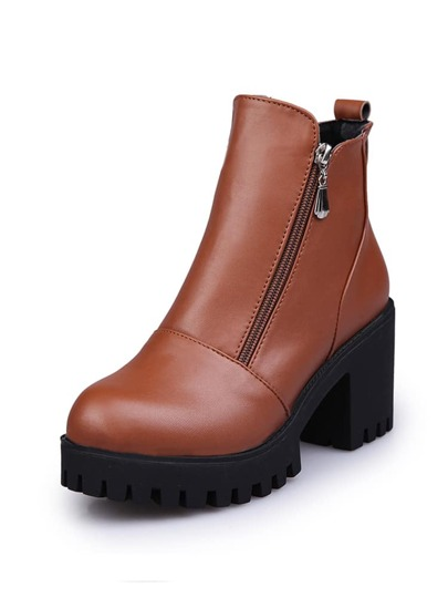 Side Zipper Platform Ankle Boots