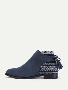 Tassel Tie Tribal Print Ankle Boots