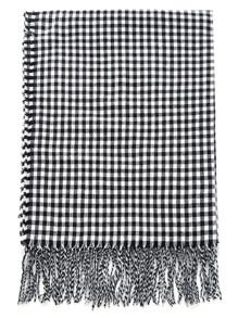 Bufanda de cuadros con flecos