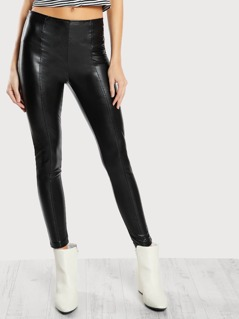 High Rise Piped Faux Leather Pants BLACK