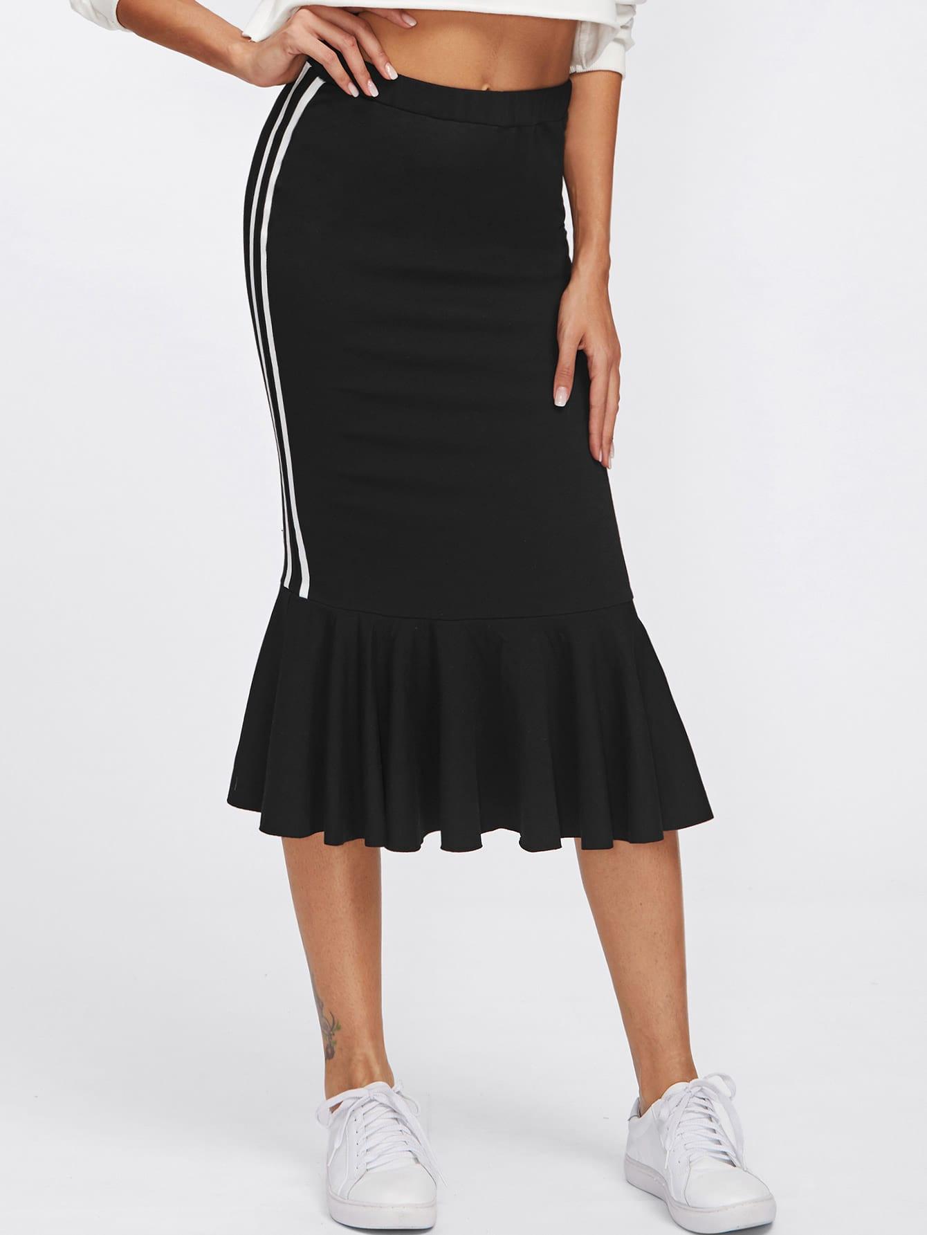 Striped Sideseam Ruffle Hem Jersey Skirt
