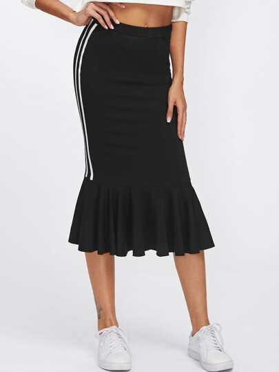 Striped Sideseam Ruffle Hem Jersey Skirt