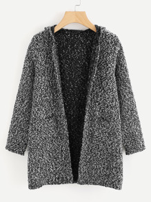 Hooded Double Pockets Tweed Coat