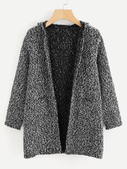 Hooded Double Pockets Tweed Coat