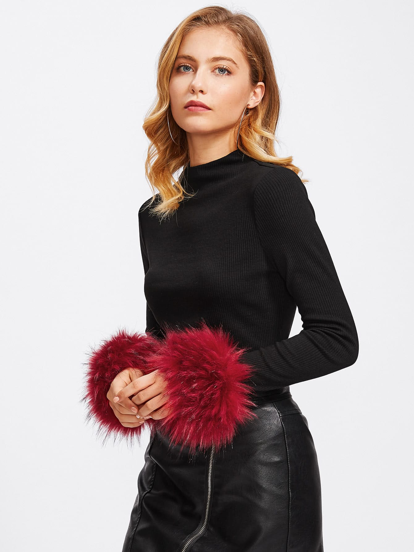 Contrast Faux Fur Cuff Ribbed Tee pearl beading faux fur pocket ribbed dress