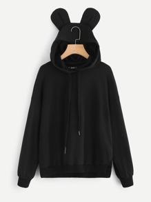 Slit Side Sweatshirt With Ear Hoodie