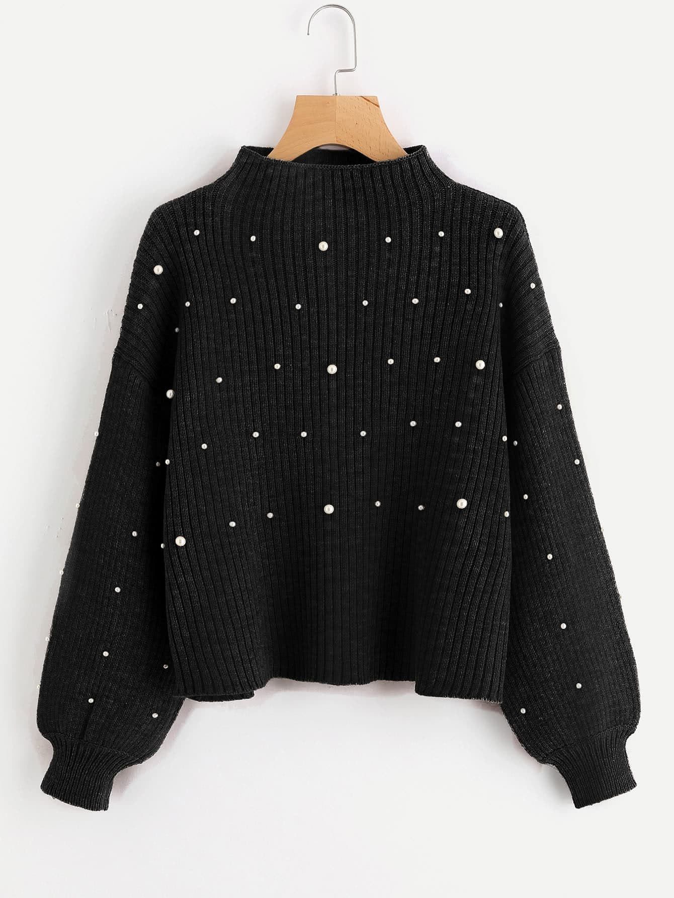 Pearl Embellished Exaggerated Bishop Sleeve Ribbed Sweater exaggerated mask brooch