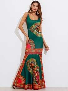 Ornate Print Fishtail Tank Dress