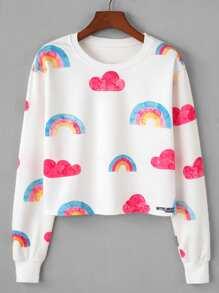 Rainbow Print Random Sweatshirt