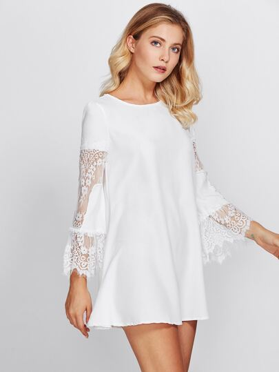 Flowy Dress With Lace Trumpet Sleeve