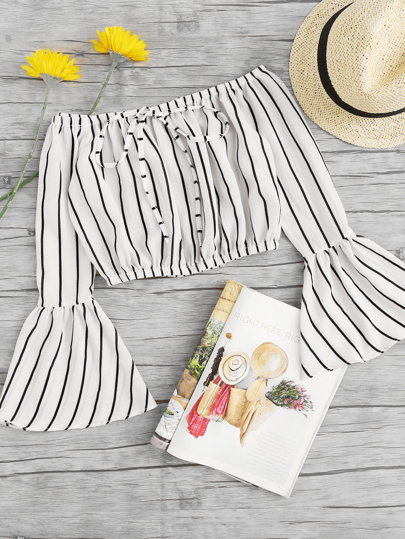 Off Shoulder Fluted Sleeve Striped Drawstring Crop Top