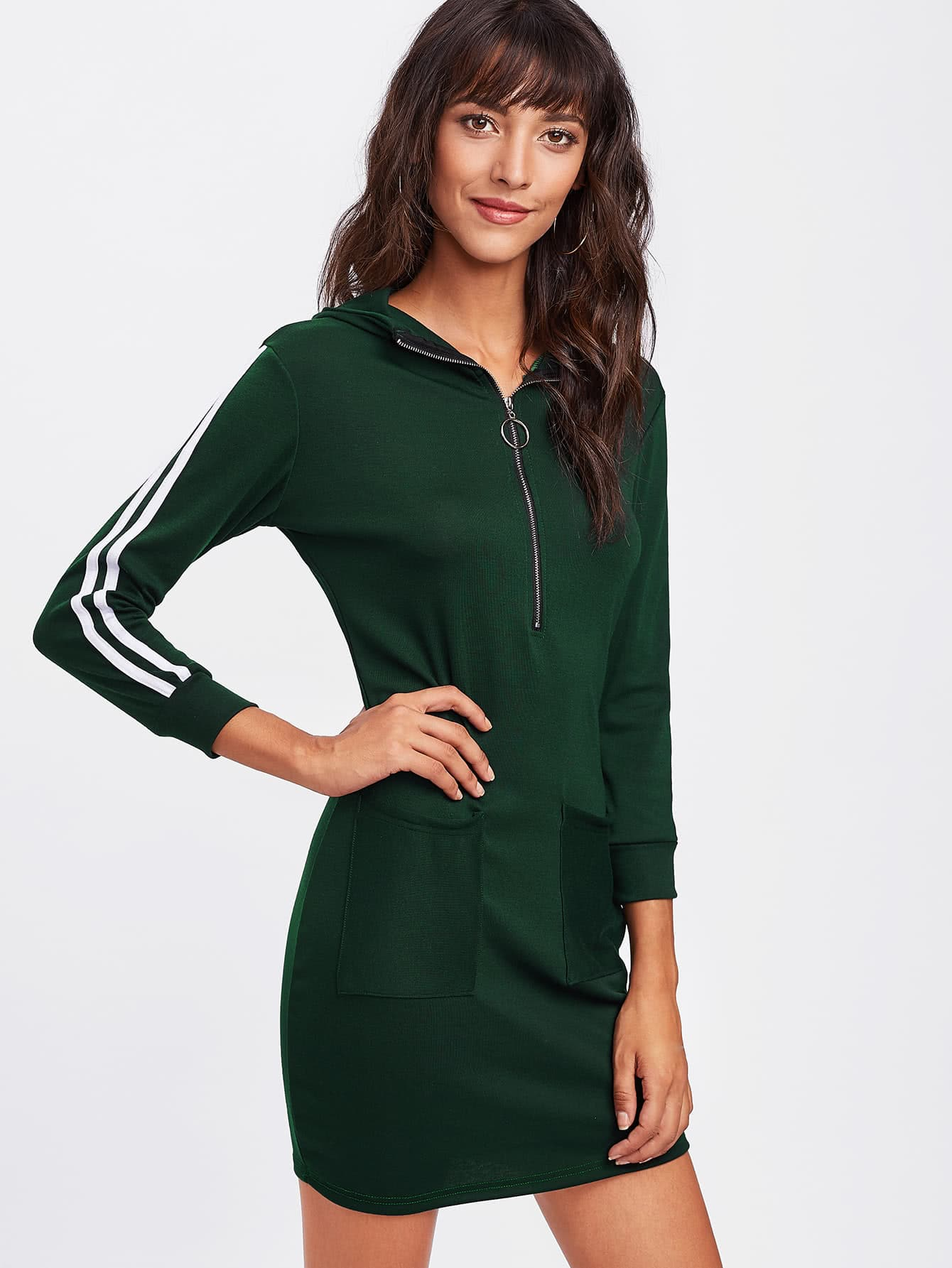 Tape Detail Zip Neck Hoodie Dress tape trim letter ribbon detail raglan hoodie dress