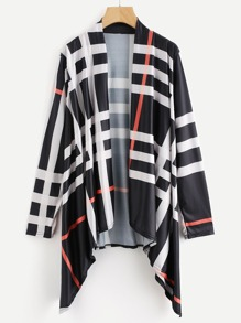 Checked Open Front Drape Coat