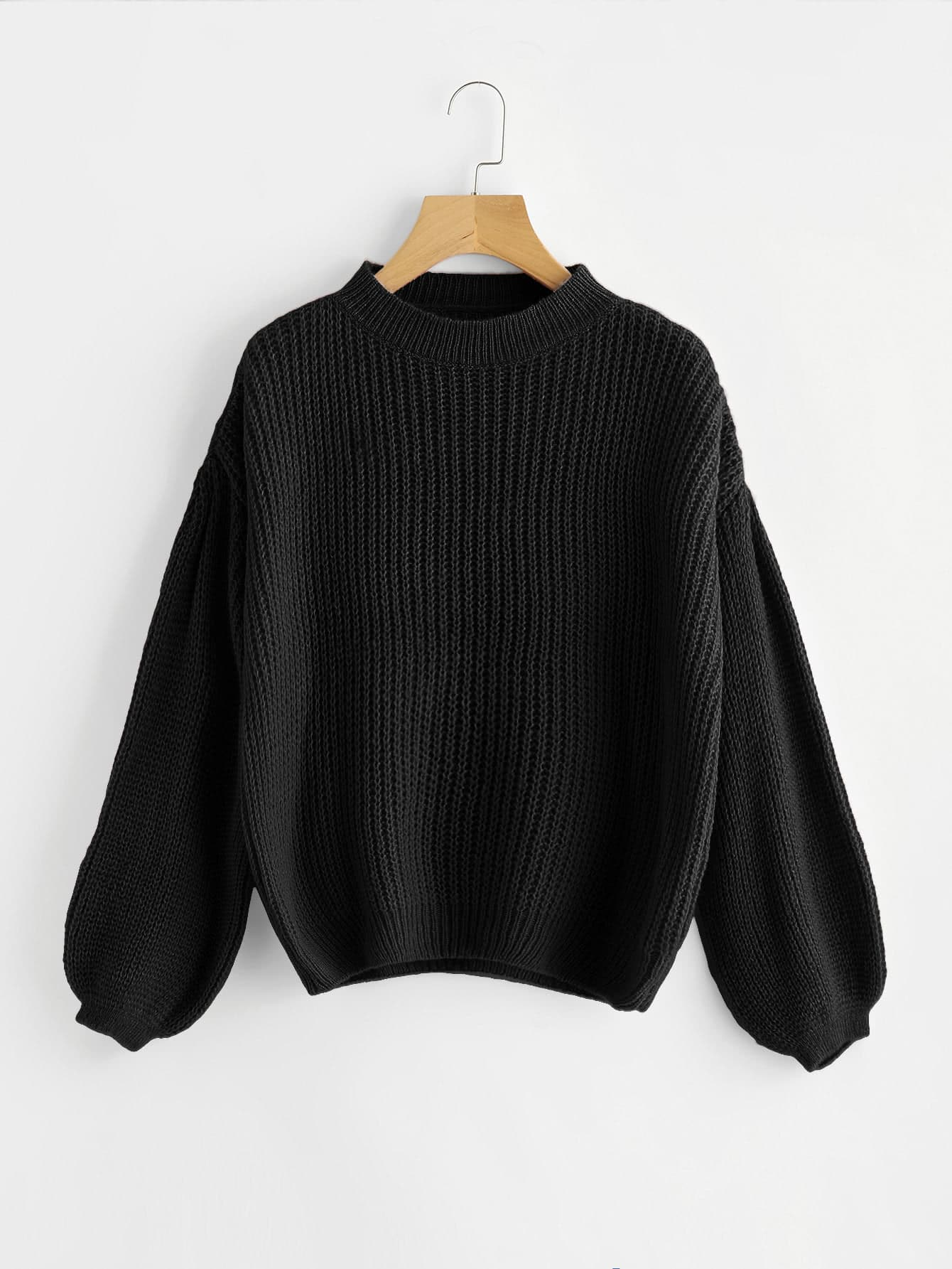 Drop Shoulder Lantern Sleeve Sweater sweater170913451