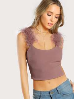 Feather Fur Straps Crop Top MAUVE