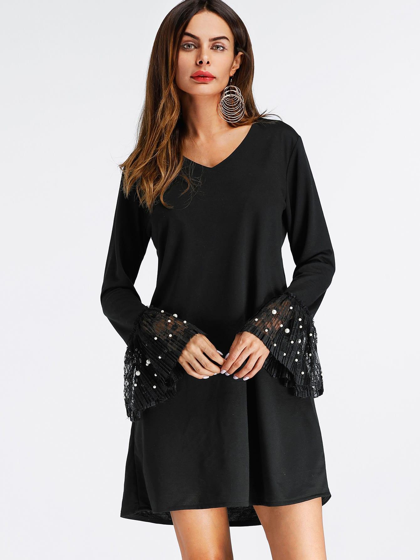 V Neckline Fluted Sleeve Pearl Beaded Dress v notch pearl leaf chain detail fluted sleeve dress
