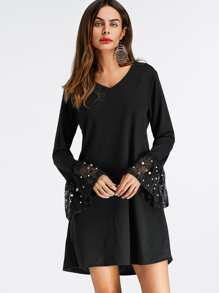 V Neckline Fluted Sleeve Pearl Beaded Dress