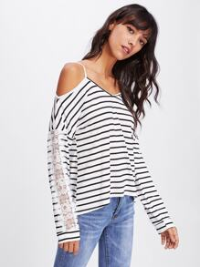 Cold Shoulder Lace Panel Sleeve Striped Tee