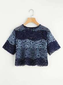 Ombre Floral Lace Crop Top
