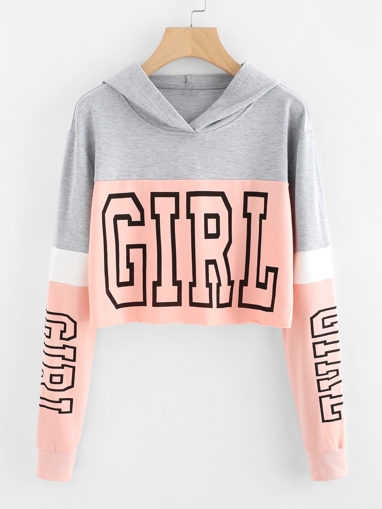 Girl Print Color Block Hoodie