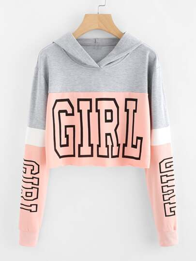 Girl Print Color Block Hoodie