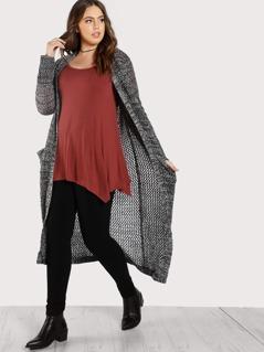 Crochet Long Sleeve Cardigan GREY