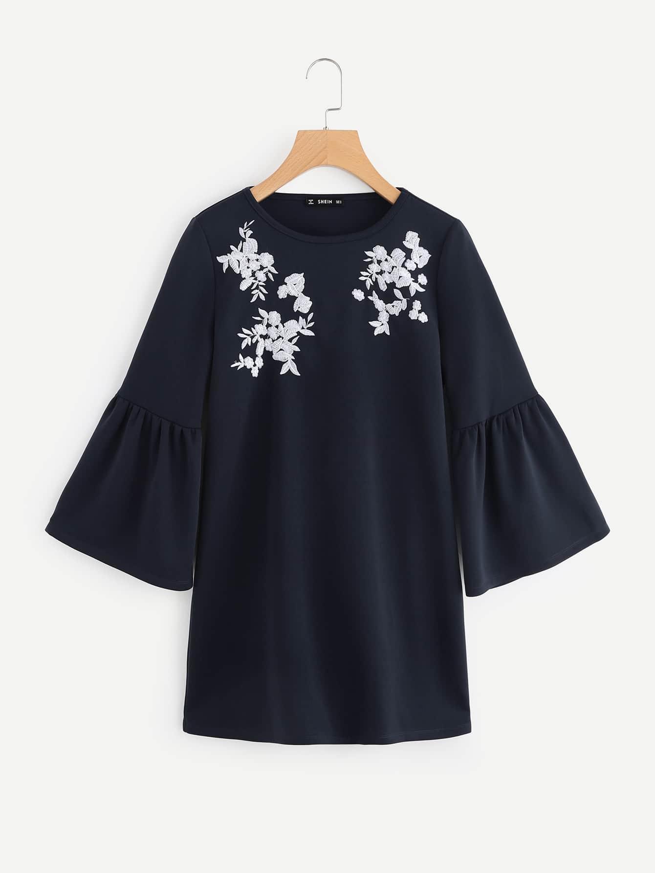 Flower Embroidered Trumpet Sleeve Dress flower embroidered trumpet sleeve top