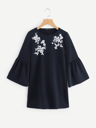 Flower Embroidered Trumpet Sleeve Dress