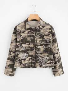 Rivet Detail Distressed Camouflage Jacket