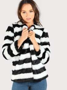 Striped Open Front Faux Fur Coat