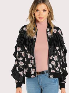 Layered Flounce Trim Floral Bomber Jacket