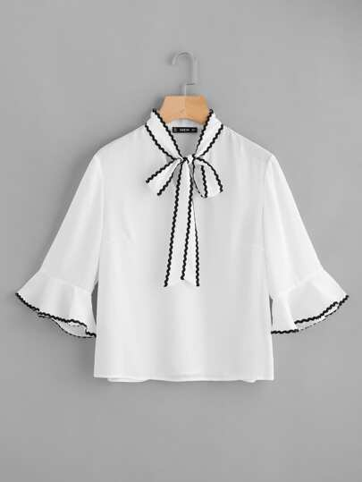 Bow Tie Wave Lace Trim Blouse