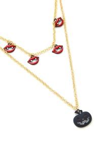 Pumpkin & Lips Design Pendant Chain Necklace