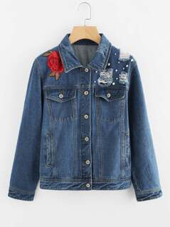 Pearl Beading 3D Flower Patch Denim Jacket