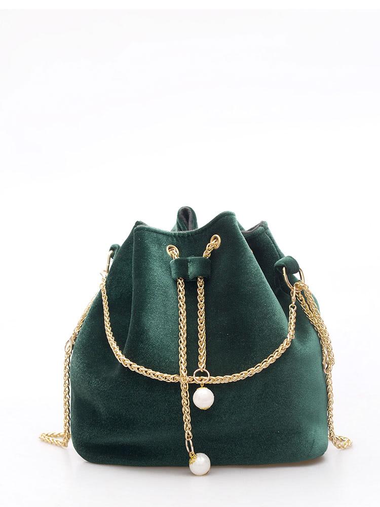 Drawstring Bucket Chain Bag weave drawstring bucket bag